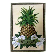 Welcome Flag Meadow Creek 1 Ft X 1 1 2 Ft Pineapple Welcome 2 Sided Garden