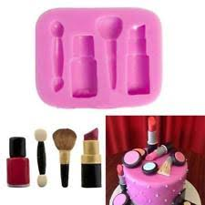 makeup cake toppers lipstick makeup brush silicone mould sugarcraft cupcake toppers