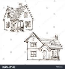 cute little house victorian cute little houses set outline stock vector 678260527
