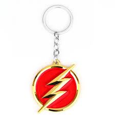 red key rings images Dc comics the flash lightning keychain red gold logo 6cm metal jpg
