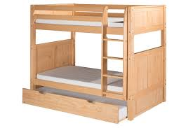 Solid Wood Bunk Beds With Trundle by Harriet Bee Oakwood Natural Twin Wood Bunk Bed With Trundle