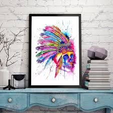 online get cheap indian art picture aliexpress com alibaba group american indian skull artwork canvas art print painting poster wall pictures for living room home decoration