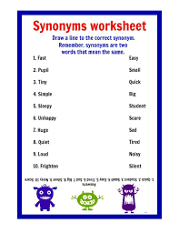 synonyms worksheets worksheets