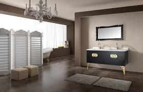 Grey Wall Bathroom Floating Black Wooden Vanity Having White Top And Sink With Double