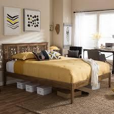 King Platform Bed Baxton Studio Trina Medium Brown King Platform Bed 28862 6919 Hd