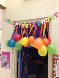 Streamer Chandelier Teacher Birthday Idea Balloons Taped To Streamers Dollar Tree