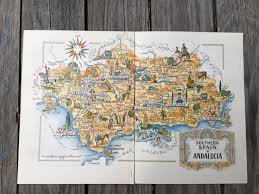 Travel Decor Southern Spain Map Andalusia Spain Old Map Book