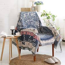 50 x 70 double sided cotton woven couch throw blanket featuring
