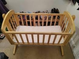 mamas and papas breeze rocking natural wooden crib cot in