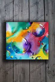 Home Decor Paintings by Original Watercolor Painting Abstract Art Bubble Colorful