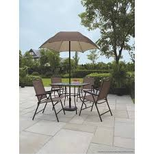 Patio Dining Set With Umbrella Mainstays Sand Dune 6 Folding Patio Dining Set With Umbrella