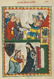 way of a pilgrim clothing of the half of the 14th century is depicted in the