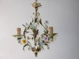 Vintage Flower Chandelier C 1930 Rare Two Matching French Tole Porcelain Flowers Chandelier