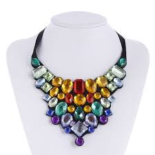 ribbon necklace images Women choker collar pendant multi colors crystal statement jpg