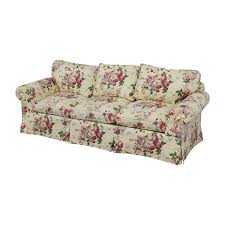 Sofa Curved 89 Floral On White Three Cushion Sofa With Curved Arms Sofas