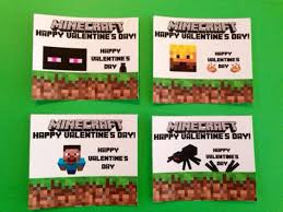 minecraft valentines cards diy minecraft party cards favor bags