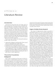 appendix a literature review improving safety culture in