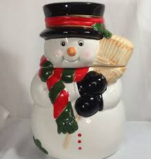 christmas snowman cookie jar ceramic top hat holding broom kitchen