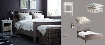 Grey And Brown Bedroom Color Palette Hemnes Grey Brown Bed With White Bedside Table And Barometer