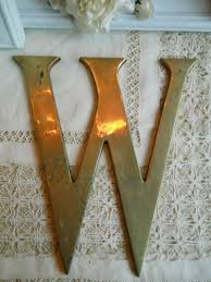 Metal Letters Home Decor by Large Brass Vintage Letter W Metal Architectual Wall Hanging Home