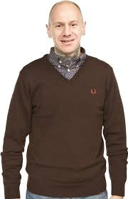 fred perry v neck guys sweater liquorice sourpuss clothing