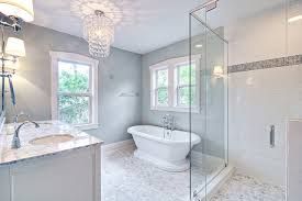 Spa Like Bathroom Designs Spa Like Master Bath With Glass Chandelier And Pedestal Tub