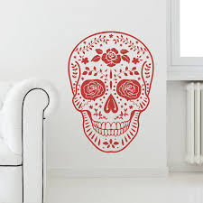 day dead mexican skull vinyl wall sticker by oakdene