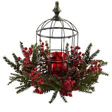 pine berry birdhouse candelabrum christmas centerpiece