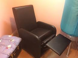 Folding Recliner Chair Black Faux Leather Folding Recliner Chair In Bampton