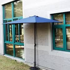 5 Patio Umbrella 10 Ft Half Outdoor Patio Umbrella Wall Corner Yard Crank