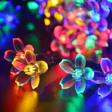 Outdoor Led Patio String Lights by Aliexpress Com Buy Solar String Lights 50 Led Blossom Flower