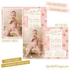twinkle little star first birthday invitation gold glitter