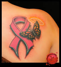 breast cancer ribbon with butterfly and halo i m guessing this is