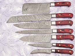 review custom made damascus steel kitchen chef knife set 7 pcs