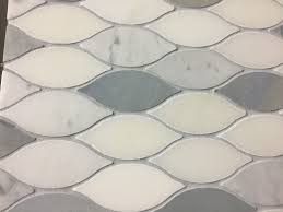 marble mosaic tile elongated teardrop water jet mosaic tile in italian white and blue