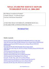 ninja zx10r service repair workshop manual 2004 2005 pdf by david
