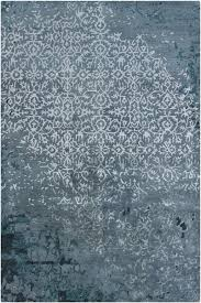 Blue Wool Rug Rupec Collection Wool And Viscose Area Rug In Light Blue And Dark