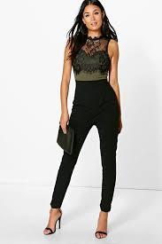 lace jumpsuits lace trim jumpsuit boohoo