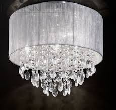 silver pendant light shade silver shade and crystal glass drops small flush ceiling light id