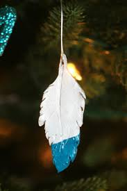 dipped feather ornaments frugal eh