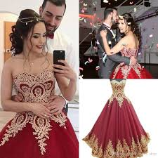 sweetheart ball gown prom dresses elegant gold lace wine red tulle