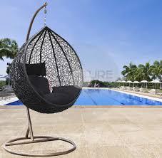 hanging egg chair black cushion