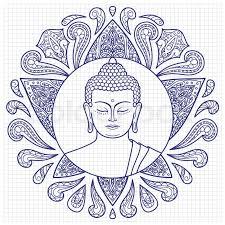 hand drawn buddha head with lotus decoration sketch for tattoo