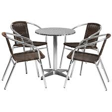 stainless steel table and chairs amazon com flash furniture 31 5 round aluminum indoor outdoor