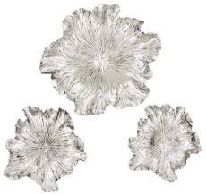 Metal Flower Wall Decor - set of 3 round metal flowers wall plaques floral finish accent