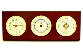 Patio Clock And Thermometer Sets by Bey Berk Time Tide Wall Clock With Barometer And Thermometer
