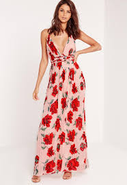 floral maxi dress strappy plunge floral maxi dress missguided