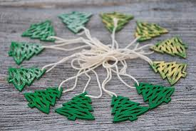christmas wood tag mini christmas tree decor handpainted wooden