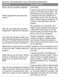 dbt recognizing your emotions example worksheet touchy feely