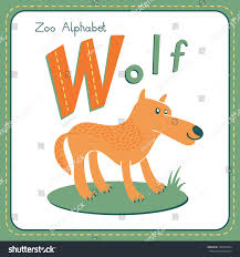 letter w wolf alphabet cute animals stock vector 188299244